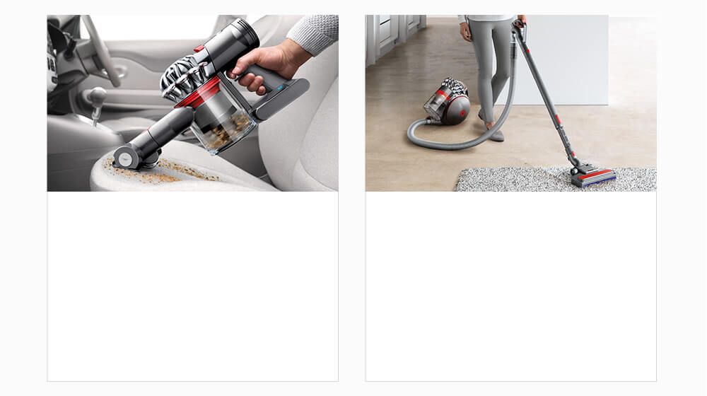 Handheld vacuum in a car and a woman cleaning with a cylinder
