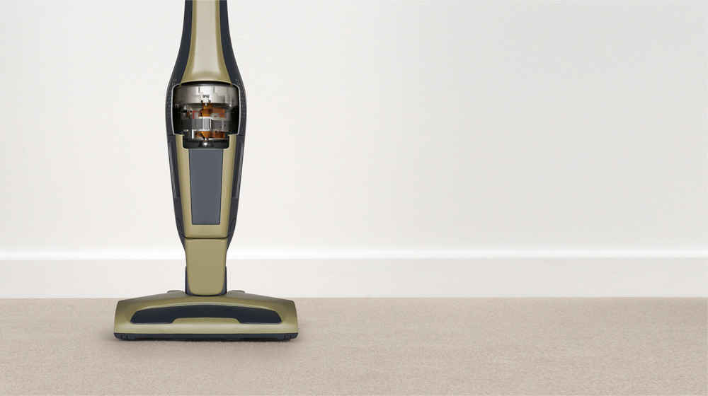 Most cordless vacuums still use dated design methods.</br>Their heaviest components</br>are located at the base of the vacuum, confining it to floor cleaning.